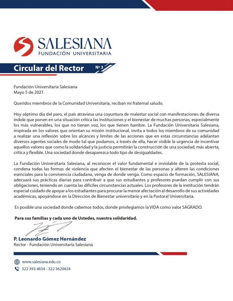 Comunicado oficial de la Fundación Universitaria Salesiana en la coyuntura actual 2
