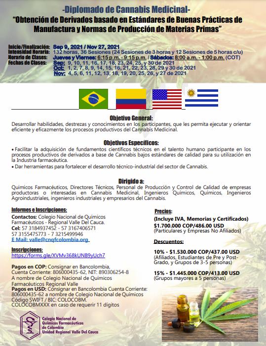 Diplomado de Cannabis Medicinal: Obtención de Derivados basado en Estándares de Buenas Prácticas de Manufactura y Normas de Producción de Materias Primas 8